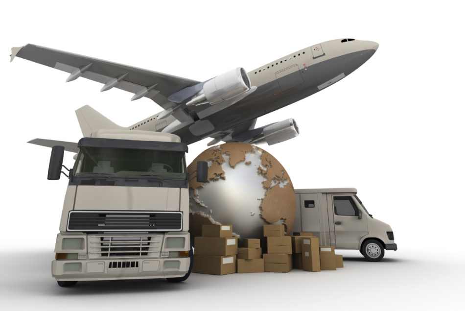 3D rendering of  a world map, packages a van, a truck and an airplane